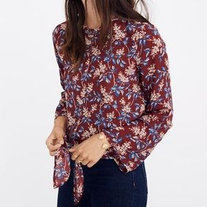 NWT Madewell Bell Sleeve Tie Top in Antique Floral